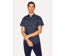 Slim-Fit Navy Short-Sleeve Floral Shirt