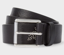 Black Leather Belt With 'Dreamer' Motif Stud Detail