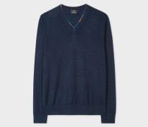 Navy V-Neck Sweater With Contrast Detail