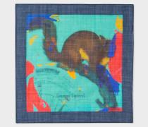 Turquoise 'Squirrel' Print Silk-Blend Pocket Square