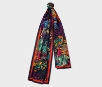 Multi-Coloured 'Dreamer' Print Silk Scarf
