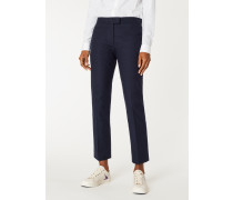 Slim-Fit Navy Cotton Flannel Trousers