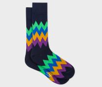 Navy Zig-Zag Stripe Socks