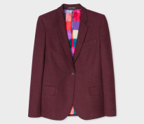 Burgundy Cotton-Blend Flannel Blazer