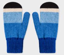 Vintage Blue Stripe Wool Mittens