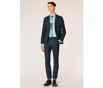 Slim-Fit Dark Navy Check Wool Suit