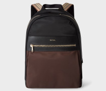 Black And Chocolate Brown Canvas Backpack