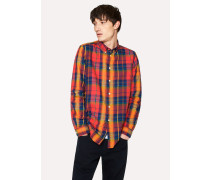 Tailored-Fit Red Check Cotton Button-Down Shirt