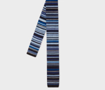 Navy 'Signature Stripe' Knitted Wool Tie