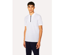 White Cotton-Piqué 'Cycle Stripe' Zip Polo Shirt
