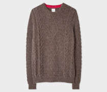 Brown Wool-Mohair Donegal Cable-Knit Sweater