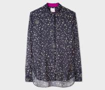 Navy 'Gold Star' Print Chiffon Shirt