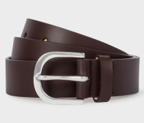 Chocolate Brown Stripe-Buckle Leather Belt