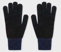 Black Wool Knitted Gloves