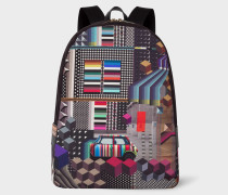 'Geometric Mini' Print Canvas Backpack