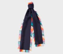 Navy 'Artist Stripe' Tassel Silk Scarf