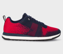Red And Navy 'Rappid' Knitted Trainers