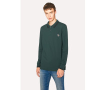 Green Zebra Long-Sleeve Polo Shirt With Black Tipping