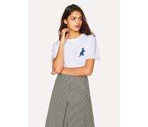 White Small Blue 'Dino' Print Cotton T-Shirt