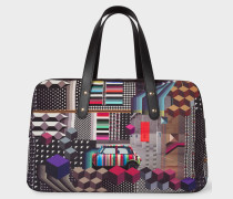 'Geometric Mini' Print Canvas Weekend Bag