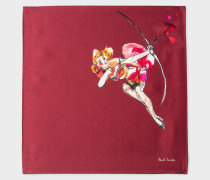 Burgundy 'Lady' Print Silk Pocket Square