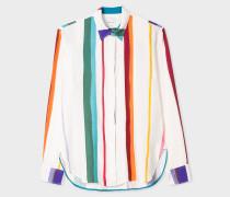 White 'Brush Stripe' Print Shirt