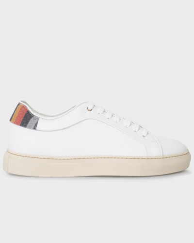 White Leather 'Basso' Trainers With 'Glitter Swirl' Trims
