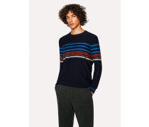 Navy Textured-Stripe Crew Neck Sweater