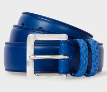Blue Leather Belt With Plaited Double Keeper