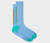 Blue 'Summer' Motif Ribbed Socks