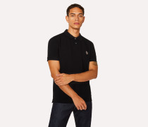 Black Cotton-Piqué Zebra Logo Polo Shirt