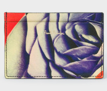 Black 'Rose Collage' Print Leather Credit Card Holder