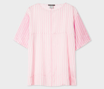 Pink And White Stripe Short-Sleeve Silk Top
