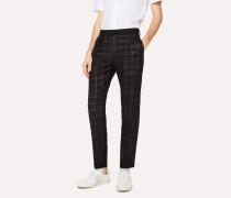 Black Check Devoré Wool-Blend Trousers