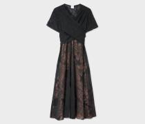Black 'Ocean' Embroidered Silk-Blend Midi Dress