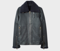 Navy Shearling Flight Jacket