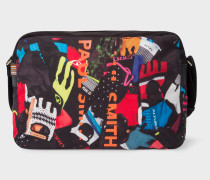 'Cycle Gloves' Print Canvas Messenger Bag