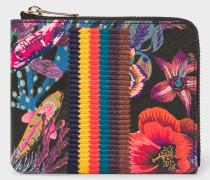 Black 'Ocean' Print Leather Corner-Zip Wallet With 'Bright Stripe' Webbing