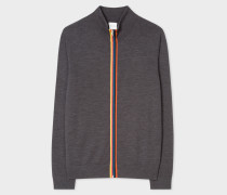 Dark Grey Marl Wool 'Artist Stripe' Zip-Through Cardigan
