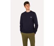 Navy Organic-Cotton Zebra Logo Sweatshirt