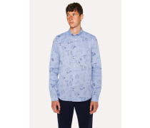 Tailored-Fit Blue 'Paul's Sketchbook' Print Shirt