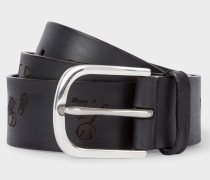 Black Embossed 'Soho' Pattern Leather Belt