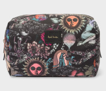 'Psychedelic Sun' Print Canvas Wash Bag