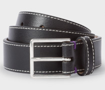 Black Leather 'Geometric Mini' Belt