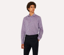 Tailored-Fit Purple And Pink Check Cotton Shirt