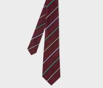 Burgundy Thin Diagonal Stripe Silk Tie