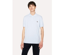 Sky Blue Organic Cotton-Piqué Zebra Logo Polo Shirt