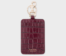 Burgundy Mock-Croc Clip Card Holder