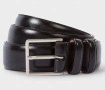 Black Leather Double Keeper Classic Suit Belt