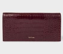 Burgundy Mock-Croc Leather Tri-Fold Purse